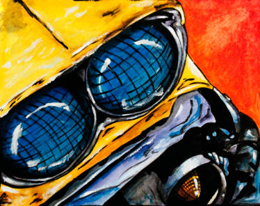 Classic Car Close Up - Gauche, Acrylic Wash & India Ink