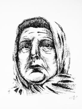 Elderly Woman - Sharpie - Crosshatching