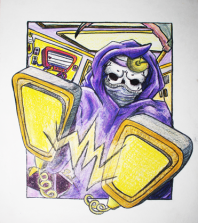 Ironic Death Colour - Ink & Pencil Crayon