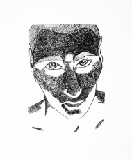 Man Bottom Lighting - Light Study 3 - Pen & Ink