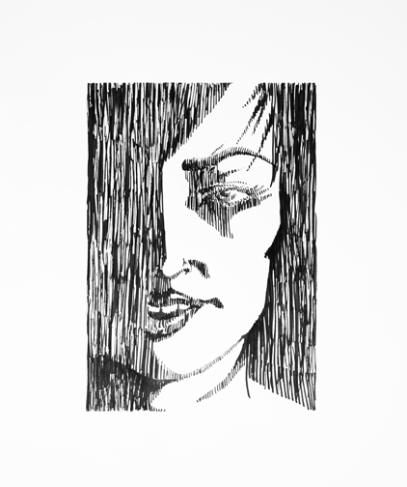 Woman- Light Study 1 - Pen & Ink