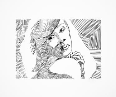 Girl - Light Study 4 - Pen & Ink