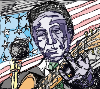 Lead Belly - Pen & Ink/Digital Colouring