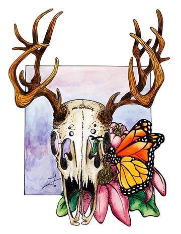 Deer Skull & Butterfly