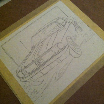 Penciled Background & Inked Car