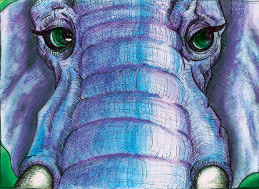 Elephant Face Watercolour Illustraiotn