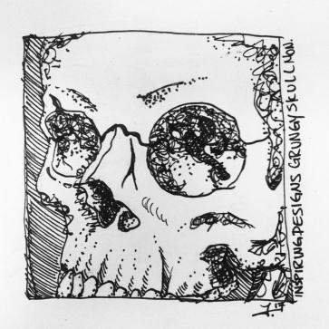 Grungy Skull Sharpie Illustration