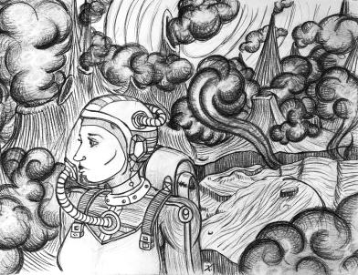 Space Wanderer Pencil Illustration