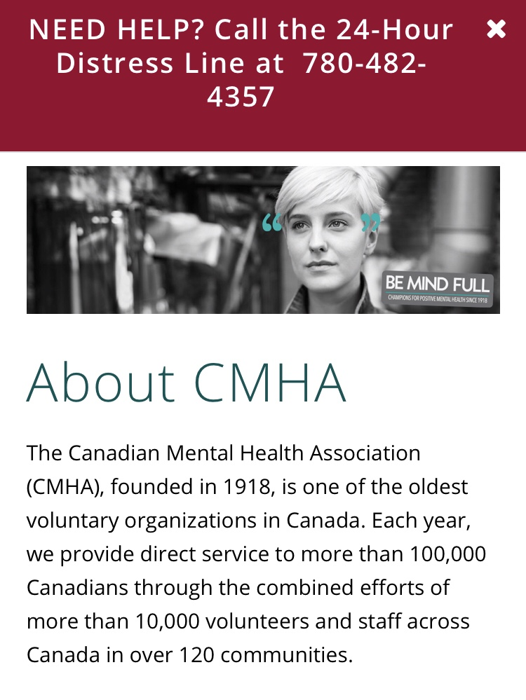 About from the CMHA website