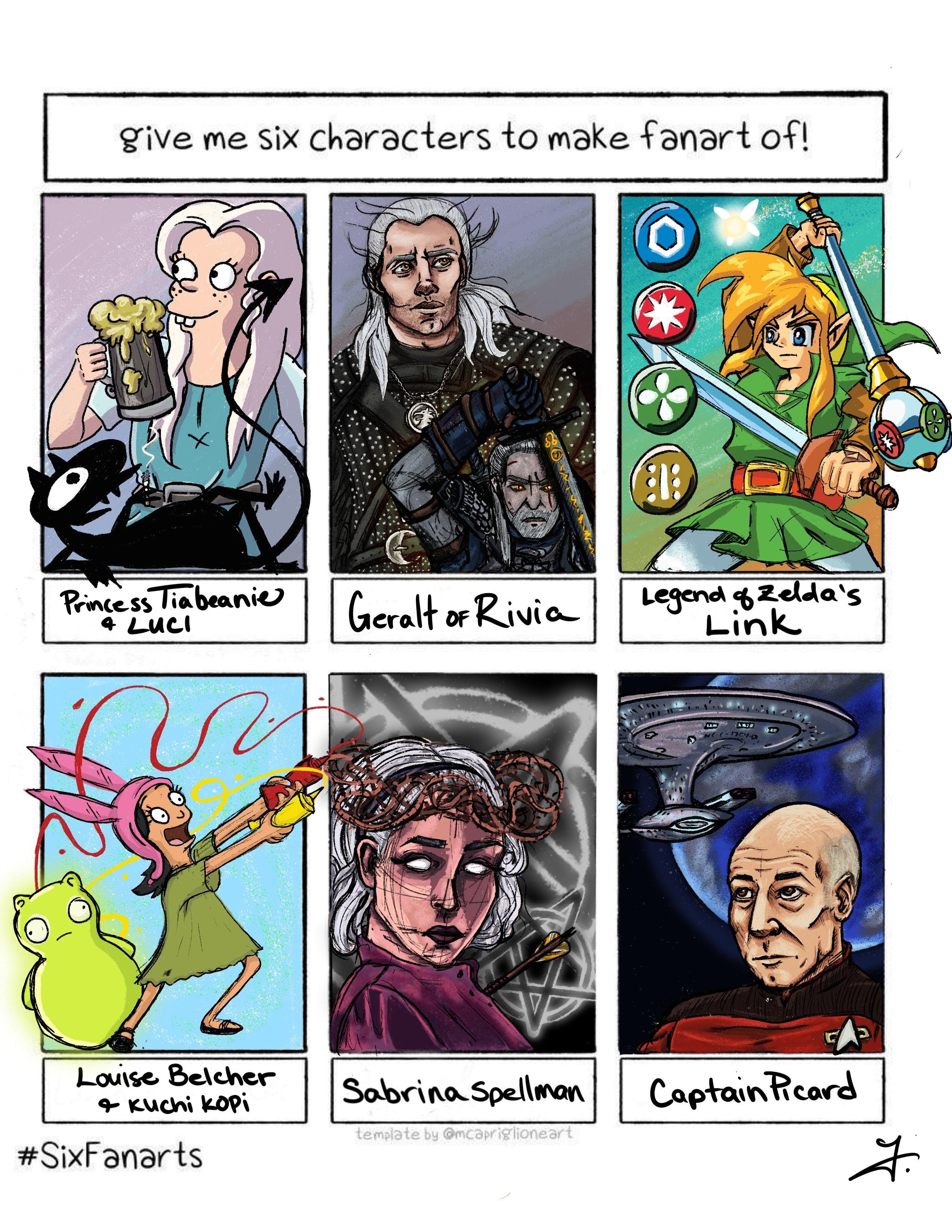 Six fan art characters in template